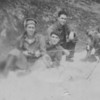 Work crew on a mountain in the Dutch Harbor mountains. My Dad, Emon C. Perdue is second from the left. 1941-43, Alaska.