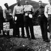 Men in the chow line during World War II in the Dutch Harbor, Aleutians, Alaska, between 1941 and 43.