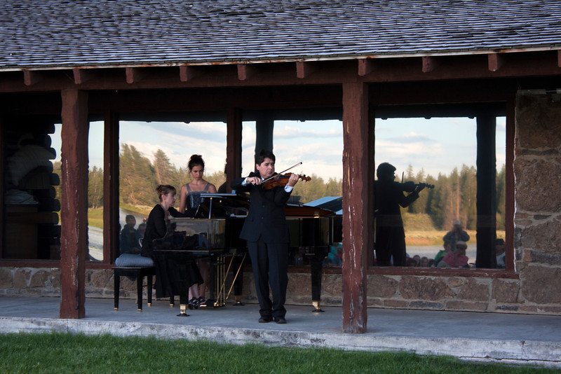Eric Grossman, violinist, performing with his sister, Michele Grossman on piano at the Mountain and Strings concert, July 13th, 2011 at Harriman State Park, south of Island Park, Idaho. This is his 6th year performing and instructing here.