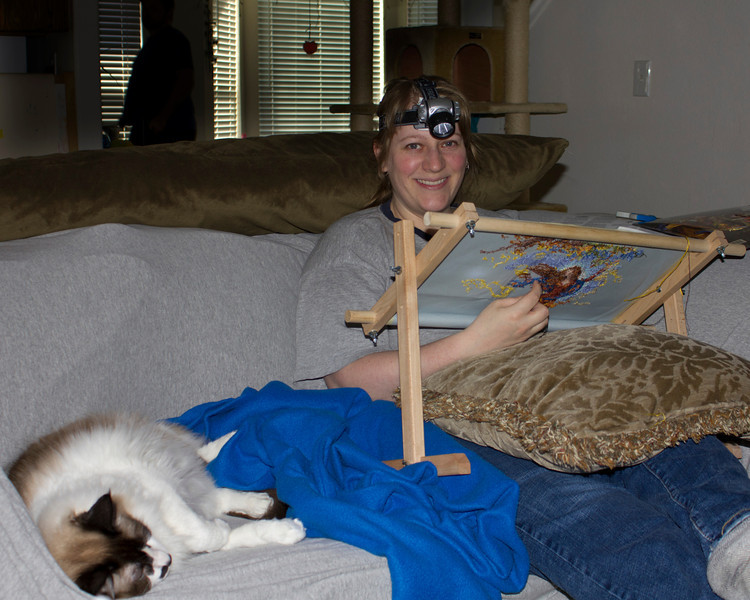 """Nicole is testing a new hobby called """"Couch Splunking"""". Jan 15,2012."""