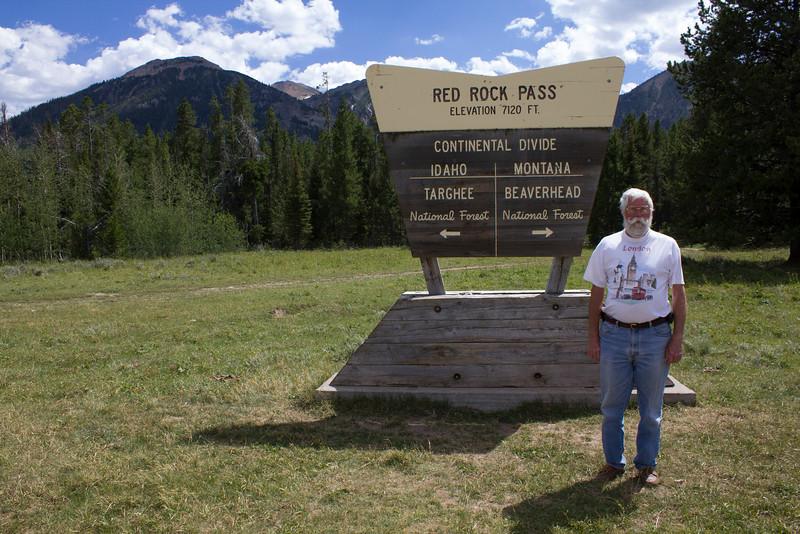 Robert (Bob) Young at the Continental Divide between Idaho and Montana along Red Rock Road. July 25, 2012