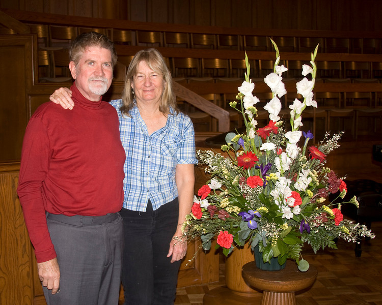 """Michael Kibbe and Vanessa Kibbe at the First United Methodist Church after a concert which premiered Mike's work, """"Wordless Haiku"""", Pasadena California, Feb 1, 2009"""