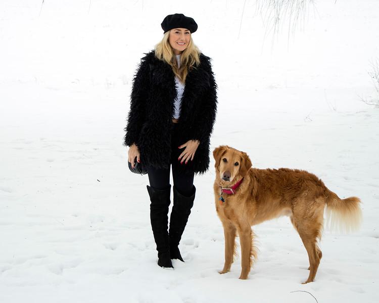 Samm Stangeland with Enzo in snow