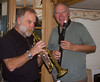 """Tom Hyde and Newt Perdue having a """"jam"""" session on Nov 10, 2012 in Cloverdale, CA. Tom and Newt both graduated from the Hilltop High School Band (63 and 64 respectively) and each still enjoys playing music."""