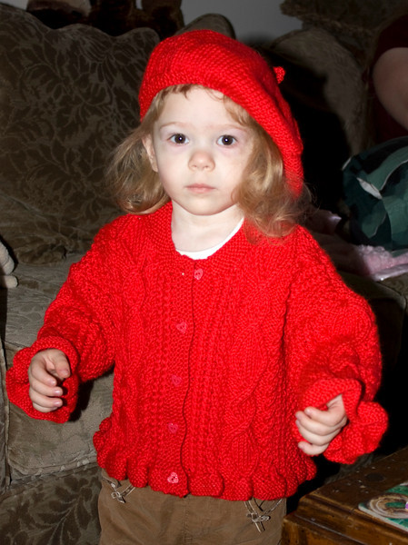 Chloe, our granddaughter, modeling a red sweater and cap knitted by Karen Rector for her 2 year birthday. Thanks loads Karen.