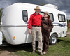 "Joel and Susan Price (from Boise, Idaho) at RedRock RV Park on August 16, 2009 in their little ""Casita"" trailer. Joel and Susan are RVing friends of ours."