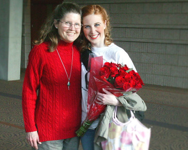 """Donna Perdue and Hanna Baumhover after a great performance by Hanna as the lead in the play """"Philadelphia Story"""" at Fullerton State college."""