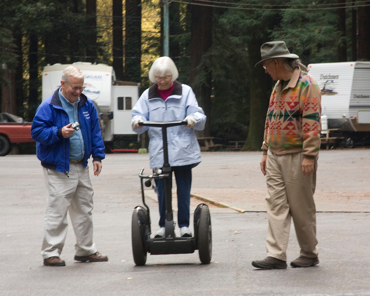Tary McConnell tries out my Segway in Felton, CA RV Park with her husband Jerry, and myself watching. November 2007