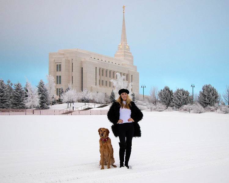 Samm Stangeland and Enzo at the Rexburg Temple in snow