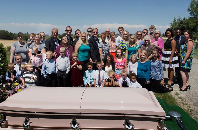 Alice Glenn Funeral, Ririe, Idaho. August 5, 2013. Family Group.