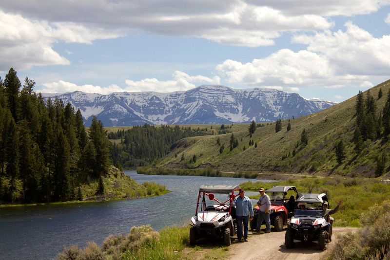 Gordon, Larry, Karen and Brian on ATVs with Elk Lake and Mount Taylor in the background. June 3, 2012.
