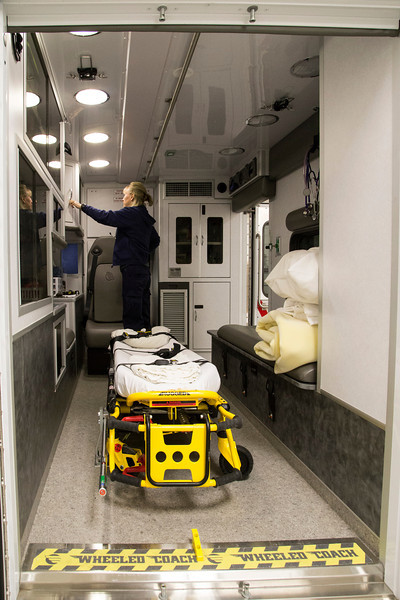 """Nurse"" Karen at Island Park EMT facility showing off her new Ambulance to visitors. May 18, 2013"