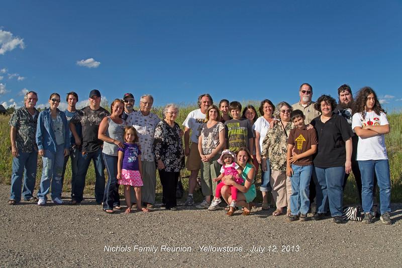 Nichols Family Reunion, Yellowstone July 12, 2013