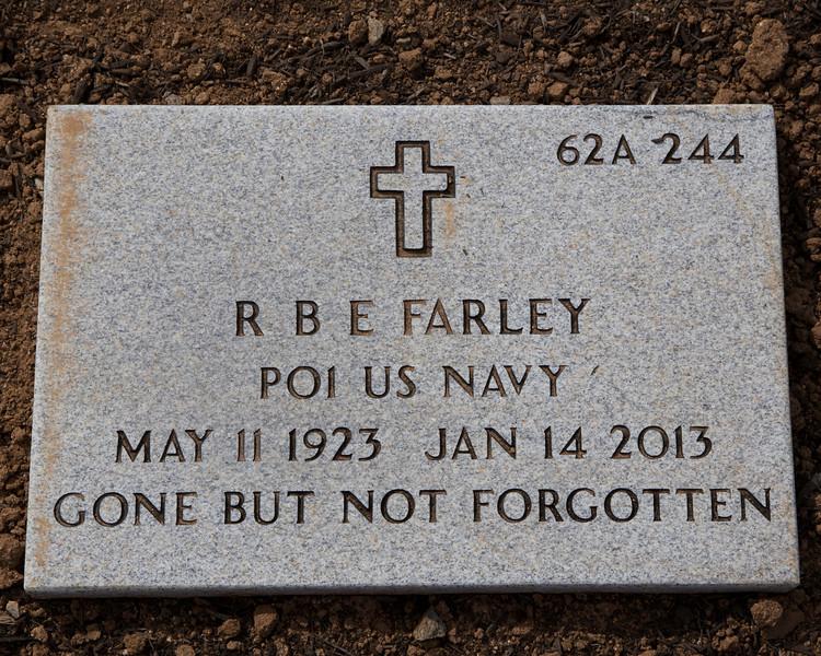 R B E Farley's marker headstone in Riverside National Cemetery.