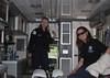 Karen Rector and Donna Perdue in Ambulance at Open House at Island Park, Idaho new ambulance barn. June 19, 2010.