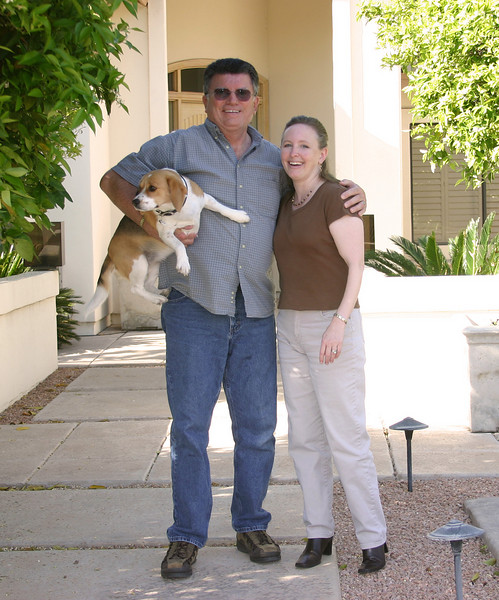 Steve, Karen and Casey Rector at their home in Mesa, AZ. We met them at the RedRock RV Park in Idaho. Reggie loves Casey... and I think it is reciprocated.  March 27, 2007
