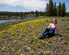 Donna at Madison River with Yellow Asters, Yellowstone Nat'l Park.  June 16, 2013