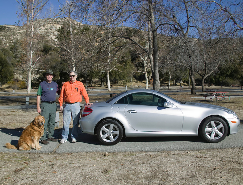 Steve Jay and Newt Perdue (and Reggie) in Silent Valley RV Park with his new Mercedes Convertible. Steve and I worked together at Ultra Network Technologies in Santa Clara in the 80's and knew each other from our association with Control Data Corporation in the 60's and 70's.  Dec 23, 2007