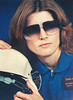 Donna posed for a Sunglasses ad back in 1990, or so... Here she is in her NASA jumpsuit and helmet.