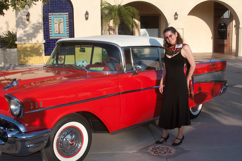 """Donna """"Dilks"""" Perdue and '56 Chevy at Candlelight Theatre venue for her 50th Claremont High School reunion. Sep 24, 2011."""