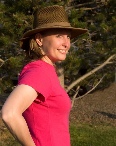 Karen with her new hat at RedRock RV Park, Island Park, Idaho. July 27, 2008