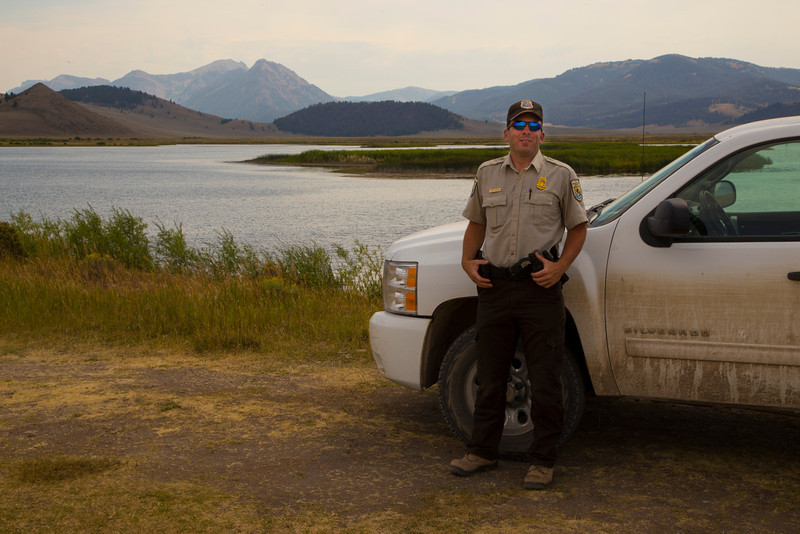 David Farmer of US Fish and Wildlife Service at Red Rock Lakes National Wildlife Refuge, Widgeon Pond. August 2013