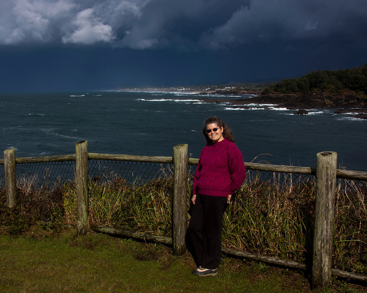 Donna Perdue along north Oregon Coast (Lincoln City is in the background) on her birthday, 2012.