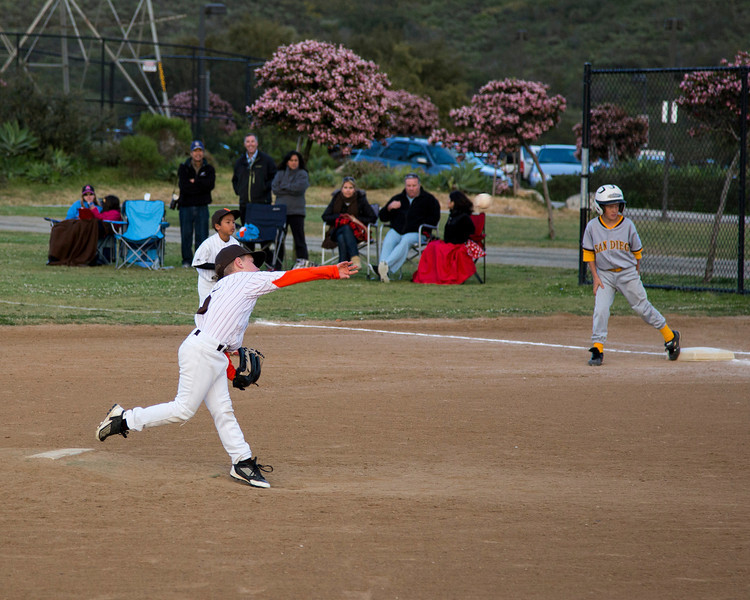 Diego on first base as the pitch is thrown. April 9th, 2013