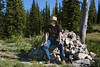 My friend, Joel Price on a cairn at the Smoking Place along the original Nez Perce trail, also once visited by the Lewis and Clark troop. July 18, 2010.