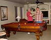 Newt Perdue and Steven Rector clowning around at Steve's sons' home. Steves is behind the 8-ball. Feb 2009 Az