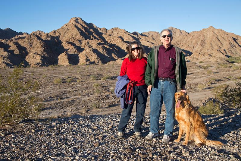 Steve Jay, Donna Perdue and Ezno with Gila Mountains near Yuma AZ
