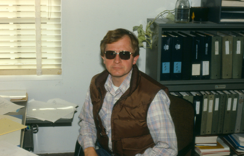 Russell Schwanz at Fleet Numerical Oceanography Center (FNOC) in 1980, Monterey, CA. Systems Department.