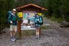 Tom and Tess Moore posing at the trailhead of the Continental Divide Trail on the southside of the Centennial Mountains, headed for a two night trek through high mountains on Sep 1, 2012.