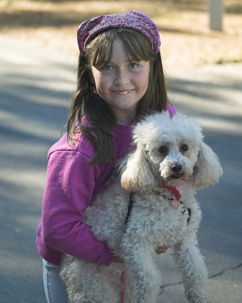 Full timers, Genny and Lucy (the one with white fur) in Silent Valley RV Park. Feb 2007