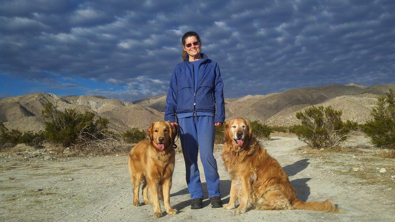 Donna with Mia (left) and Reggie (right) on trail across from Desert Pools RV Resort in Desert Hot Springs, CA. Jan 6, 2011.