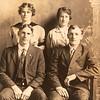 [Evert & Myrtle Goodman (L), Dora & Fay Leatherwood (R).  Wedding picture.  March 1915]