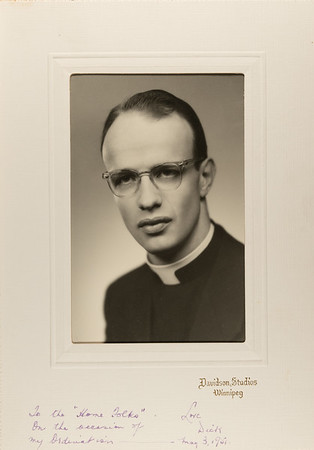 "To the ""Home Folks"" on the occasion of my Ordination, Love Dick.  May 3, 1951.  My brother Thomas Welsh's son Richard Welsh."