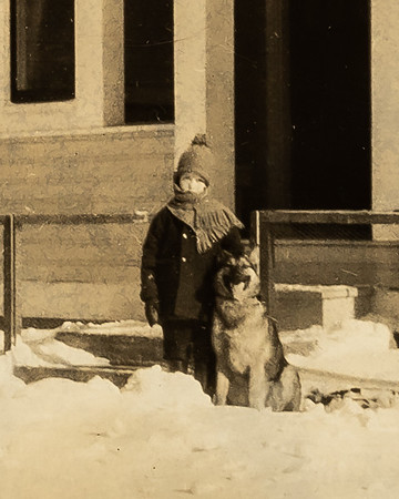 """Dick and """"Grimm"""".  February 1929.  Stave Falls, BC.  My brother Thomas' son where my brother helped and built an electric power plant."""