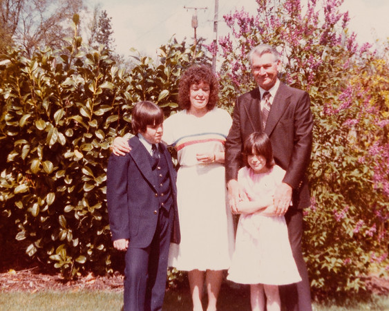 Happy children on Easter in Roseburg with Grandpa Reed 1978.