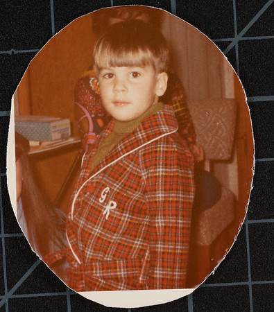 [72  Christmas 1972.  Greg Rains] I think maybe Grandma Rains made this robe for Greg.