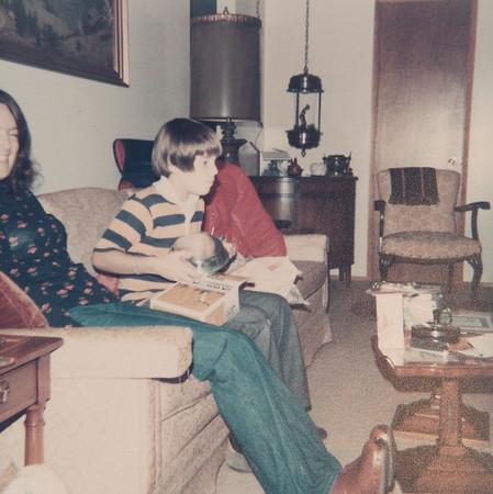 [Jan + Greg Rains 12/79] Taken at Pauline & Del's house in Sherwood.