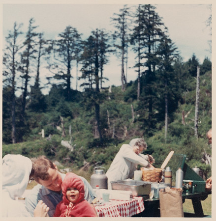 [Greg, where is the sweatshirt going with you? Jan + Larry + Nell Rains.  Picnic at Cannon Beach - When Rex Rains was out to Oregon for Robert Rains Ordination in Salem.]