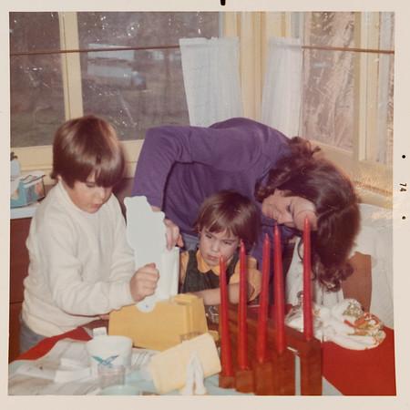 [Greg, Jenni & Jan.  Christmas 1974]