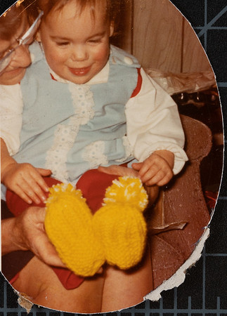 [Jennie Rains Christmas 1972] Grandma Pauline knitted the slippers for Jehnee.