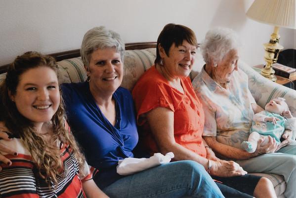 5 Generations.  GG Grandma, G Grandma, Grandma, Mom with Rosalie.