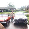 Larry's Jaguar and my Alpine Sunbeam.