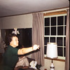 Lucile Reed throwing darts at Dick and Pauline's house.