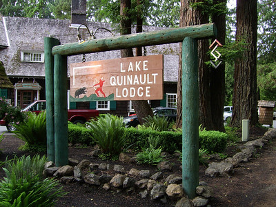 Lake Quinault Lodge Sign with Lodge in the Background, Olympia Natiional Park, Washington State. Client: Stock Photography Agency