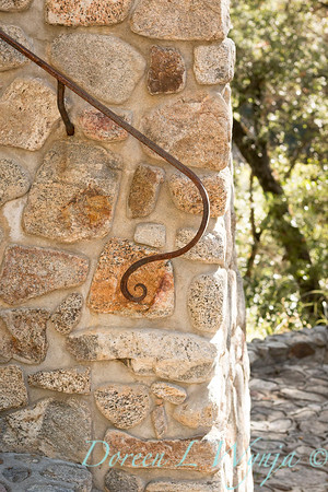 Stonework wall - forged iron railing_4562