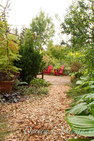 garden pathway red adirondack chairs_3946